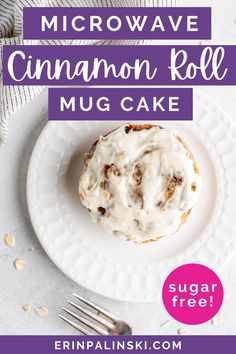 Looking for a sugar free cake that doesn't take a ton of time to make? My cinnamon roll cake is made in just a couple of minutes, sugar free, and less than 200 calories! The perfect skinny dessert!
