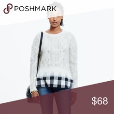 🆕 Listing! Madewell wintermix cable sweater PRODUCT DETAILS We took care of the styling for you with this unique pullover sweater that transitions from supersoft cableknit to effortlessly cool flannel. Our designers made it extra special, using a felting technique to seamlessly blend the two looks (so you don't have to choose just one).    Fits like an XS in my opinion.  Extrafine merino wool. Dry clean. Import. Sold out online. Madewell Sweaters Crew & Scoop Necks