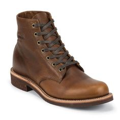 """Story  The """"Original Chippewa"""" collection reflects the authenticity and heritage of American craftsmanship, while creating timeless silhouettes for a modern American style  Built with American pride and handmade state-side with premium components, these boots have classic styling for everyday wear with features like Vibram outsoles, full leather welts and comfort insert insoles. Features  6"""""""" Service boot Zero break-in time necessary Goodyear Leather Welt Texon insole w/ M..."""