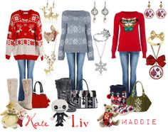 """Christmas Sweaters with Kate, Liv, and Maddie."" by pandacat on Polyvore"