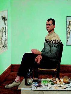 """Gregory Gillespie """"1976-77 Self Portrait in Studio"""""""
