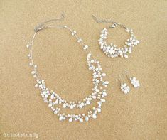 Jewelry set  White freshwater pearl necklace by CuteActually