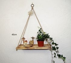 Hanging Rope Shelf, Rustic Pyramid Swing Shelf Charred — Sew Very Chic Hanging Rope Shelves, Mixed Fiber, Linseed Oil, House Plants, Pine, Shelf, Rustic, Contemporary, Simple