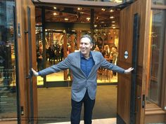 Howard Schultz at the door of the new Starbucks Reserve Coffee Roastery & Tasting Room  1124 Pike Street in Seattle