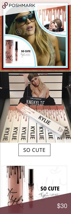 AVAILABLEKylie GlossSO CUTENIB NO TRADES  Contains: 1 Gloss (0.09 fl oz./oz. liq / 2.60ml)   So Cute is a warm nude beige.   This stay-in place lustrous soft focus gloss glides on smoothly & evenly to the lips leaving behind a luminous & voluminous effect. Delivers a long lasting brilliantly glossy end look.  Wear alone, with your favorite lip pencils or layer on top of lipsticks... Also pair with the Kylie Lip Kit for a bold, glossy look.     Check out my closet for more Kylie Cosmetics…