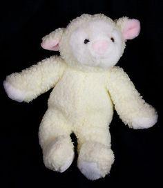 "Commonwealth Sheep 13"" Plush Cream White Baby Lamb Stuffed Animal Easter Vtg"