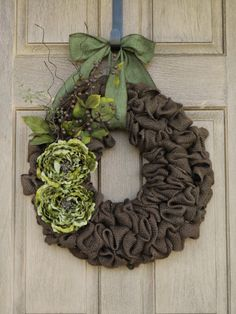 Brown Burlap Wreath with Green Peony flowers--Green and Brown Burlap Wreath-- Burlap Wreath--Year Round Wreath on Etsy, $65.00