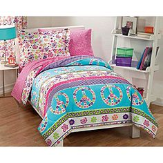 Complete any bedroom with this Peace and Love bed in a bag set. This bedding ensemble features peace signs, hearts and flowers in bright turquoise, pink and purple on a white background.