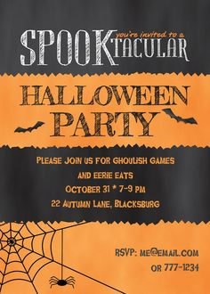 Spooktacular Stripes Halloween Party Invitation designed by 2 june bugs on Celebrations.com