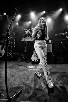 American singer Maggie Rogers performs live during a concert at the Frannz on March 6, 2017 in Berlin, Germany.