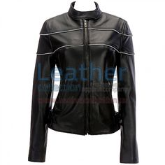 """Reflective Stripe Leather Motorcycle Jacket , Genuine Leather 0.9 - 1.0 mm, Original YKK Full Zipper Front, cuffs and Pockets, Full-zip front with snap-tab collar, 6"""" zippered gusset at cuffs, Zipper hand pockets;, 2 zippered chest pockets, 2 zippered back vents; adjustable hook-and-loop closure buckles at side hems, zip-out liner with attached neck-warmer sleeve"""