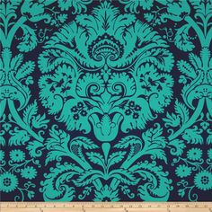Amy Butler Belle Acanthus Teal from by Amy Butler for Westminster Fabrics, this cotton print is perfect for quilting, apparel and home décor accents. Colors include navy and teal. Amy Butler Fabric, Accent Wall Colors, Teal Fabric, Acanthus, Art Background, Teal Colors, Amazon Art, White Paints, Damask