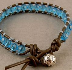 Woven leather bracelet with glass beads by juliezdesign on Etsy