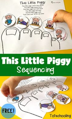 This Little Piggy Sequencing 2019 FREE This Little Piggy nursery rhyme sequencing printable activity perfect for toddlers preschoolers and kindergarten. The post This Little Piggy Sequencing 2019 appeared first on Toddlers ideas. Rhyming Preschool, Rhyming Activities, Toddler Activities, Preschool Activities, Preschool Farm, Toddler Preschool, Nursery Activities, Preschool Kindergarten, Kindergarten Library