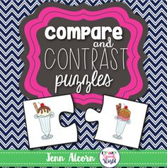 Compare and Contrast Puzzles are a great interactive activity to help your students learn how to identify similarities and differences between two objects.  This packet allows you to differentiate for students who are at different levels of functioning with included worksheets and visual aide.