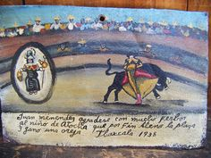 Vintage Mexican Ex Voto Retablo. Usually they are hand painted as a thank you to god for a miracle.