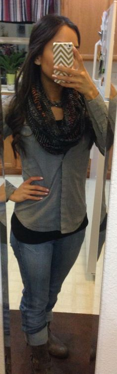 Gray, black and jeans = comfy