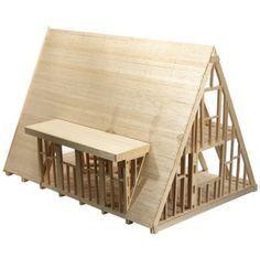 a frame model house A Frame House Plans, A Frame Cabin, Log Homes, Cabin Homes, Roof Design, House Design, Triangle House, Tiny House Cabin, Cabins And Cottages