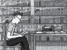 Student with glasses sitting at a desk in a library. Reading a book and studying in front of the library book shelves. Black and white drawing of young man reading.  Image from Stuart McMillen's comic Peak Oil (2015), from the book Thermoeconomics (2017).