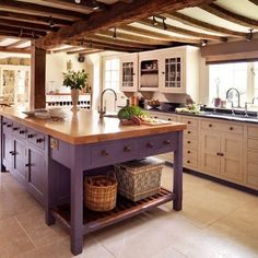 Stupendous Unusual Purple Wooden Kitchen Island Design With Brown Wooden Countertop And Flower Centerpiece In Retro Kitchen Style Idea Picture