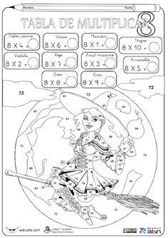 Tablas de multiplicar: fichas para colorear y jugar - Aula de Elena Multiplication Facts Practice, Math Games, Preschool Activities, Word Games For Kids, Puzzles For Kids, Math Charts, Kids Math Worksheets, Back To School Activities, 4th Grade Math