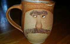 Vtg 70s Stoneware Pottery Mustache  Face* Mug 3-D Hand Crafted  Folk Art Cup