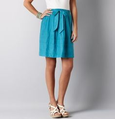 Pintuck Detail Drawstring Skirt