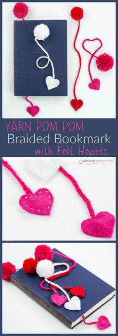 Yarn Pom Pom Bookmark with Felt Hearts - perfect craft for Valentine's Day