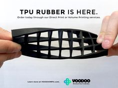 """""""Voodoo introduce a new full-flex TPU filament"""" - 17/6/16 *Suitable material for vacuum forming* Voodoo Manufacturing has boosted its range of filaments with the addition of full-flex and semi-flex Thermoplastic Polyurethane (TPU). The NinjaFlex filament comes in a range of 12 colours and can produce prints that offer varying levels of flexibility depending on the one you choose, can stretch and absorb repeated impacts without showing wear or any form of"""