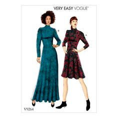 Vogue Pattern 9264 Misses'/Misses' Petite Knit, Fit-And-Flare Dresses Vogue Patterns, Easy Sewing Patterns, Fit N Flare Dress, Sewing Clothes, Dress Sewing, Fabric Sewing, Knit Dress, Summer Outfits, Tricot
