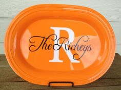 Personalized Platter - Design Your Own - Personalized Hostess Gift / Shower Gift - ORANGE on Etsy, $20.00
