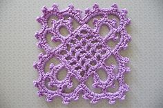 Square crochet motif, free pattern  from Handbook of Needlecraft, Number 2, published in 1915 by Needlecraft Publishing Co.