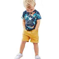 Summer Toddler Baby Kids Clothes Boys Outfits Sets Short Shirt + Pants T-Shirt – Kids Fashion Sporty Summer Outfits, Korean Summer Outfits, Summer Outfit For Teen Girls, Simple Summer Outfits, Summer Boy, Outfit Summer, Summer Hair, Dress Summer, Summer Clothes