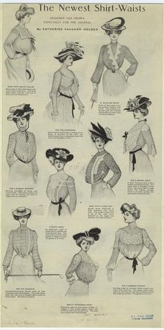 The newest shirt-waists. June 1901.  Ladies' home journal.