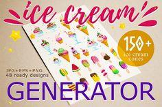 150+ ice cream generator by katflare | store on @creativemarket