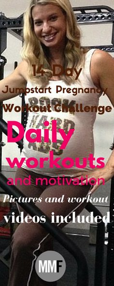 Here is your motivation to get exercising during your pregnancy. 14 Day Pregnancy Workout Challenge you can do from home. Stop yourself from gaining a lot of weight. Daily workouts (15-20 minutes each) Pictures and workout videos included Prevent excess weight gain, gain more energy, less aches and pains, better moods, lose baby weight fast.
