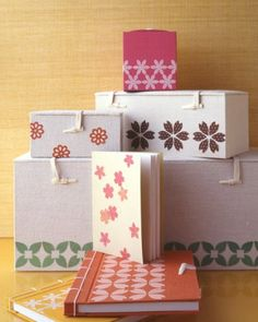 Make a long-lasting impression on fabric-covered boxes and journals by using flower punches to create bold, geometric patterns.