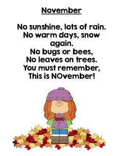 November Poetry FREEBIE | English Poems For Children, Kids