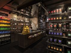 Landini Associates created the bold interiors of Australian company T2's finest international location in London's hip Shoreditch neighborhood. (A second global shop just opened in New York.) A far cry from the city's traditional apothecary-like tea sellers, the store's black interiors are punctuated by the bright packaging displayed on modern open shelving. Shoppers can choose from over 250 varieties or grab a prepared cup, tea latte, or matcha tea. 48–50 Redchurch Street, London; t2tea.com