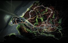 The four strategies combined into one future perspective for the Rotterdam region. Masterplan Architecture, Architecture Plan, Landscape And Urbanism, Landscape Drawings, Retaining Water, Urban Analysis, Plan Drawing, Birds Eye View, Urban Planning