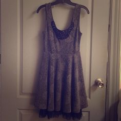 Free people dress Grey floral dress w/ beaded top Free People Dresses Mini