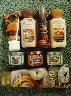 Bath and body works: sweet cinnamon pumpkin and pumpkin latte & marshmallow comfort
