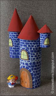 Castillo con cartuchos de papel higiénico, creatividad al poder. What a cute kid's A cute way to make a recycled craft with your little ones that they can play with for a long time to come! Toilet Roll Craft, Toilet Paper Roll Crafts, Paper Crafts, Diy Crafts, Recycle Crafts, Cute Kids Crafts, Recycled Crafts Kids, Recycled Art, Cardboard Castle