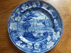 Staffordshire Pearlware Blue AND White Transferware Plate 1820 Warwickshire   eBay