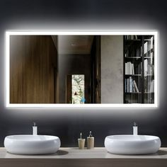 Stylish Bathroom Mirror Ideas To Consider For Your Home 55 X 28 In Horizontal Led Bathroom Mirror Touch Button Dk Od inside [keyword Backlit Mirror, Mirror With Led Lights, Lighted Vanity Mirror, Led Mirror, Wall Mounted Mirror, Mirror Bathroom, Master Bathroom, Vanity Mirrors, Bathroom Ideas