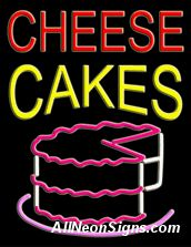 "Cheese Cakes Neon Sign-10498  24""x31""x3""  110 volt U.L. 2161 transformers  Cool, Quiet, Energy Efficient  Hardware & chain are included  6' Power cord  For indoor use only  1 Year Warranty/electrical components  1 Year Warranty/standard transformers."