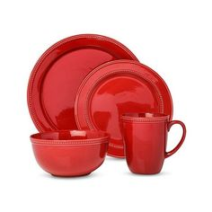 Threshold Camden Traditional Round 16 Piece Dinnerware Set – Red ($60) ❤ liked on Polyvore featuring home, kitchen & dining, dinnerware, red, red dinnerware set, threshold dinnerware, threshold dinnerware set, colored dinnerware and stoneware dinnerware