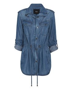 Rails EXCLUSIVE Denim Parka Jacket: Denim is by far our favorite fabric so we are loving it in a lightweight parka jacket silhouette. Collared, zip front with snap front tab, Two snap button flap pockets, two vertical slit pockets, snap button tab roll sleeves and shoulder epaulettes. Pull ...