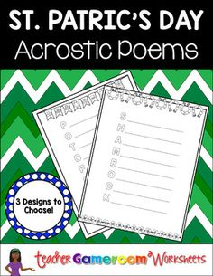 Product DescriptionHere are 4 acrostic poems for your poetry center. Great for St. Patricks day. Words include March, lucky, clover, and shamrock. Includes bubble letters and lines.Questions/Materials include:  8 words to choose from  3 designs  Terms of use PageRecent Updates: 3-9-2017 - Updates fonts, words, and backgroundsOther Related Materials: Freebie  St.