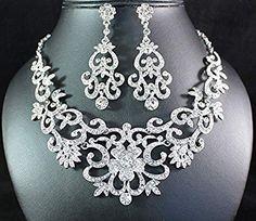 Gorgeous Austrian Rhinestone Crystal Bib Necklace Earrings Set Bridal Prom N1515
